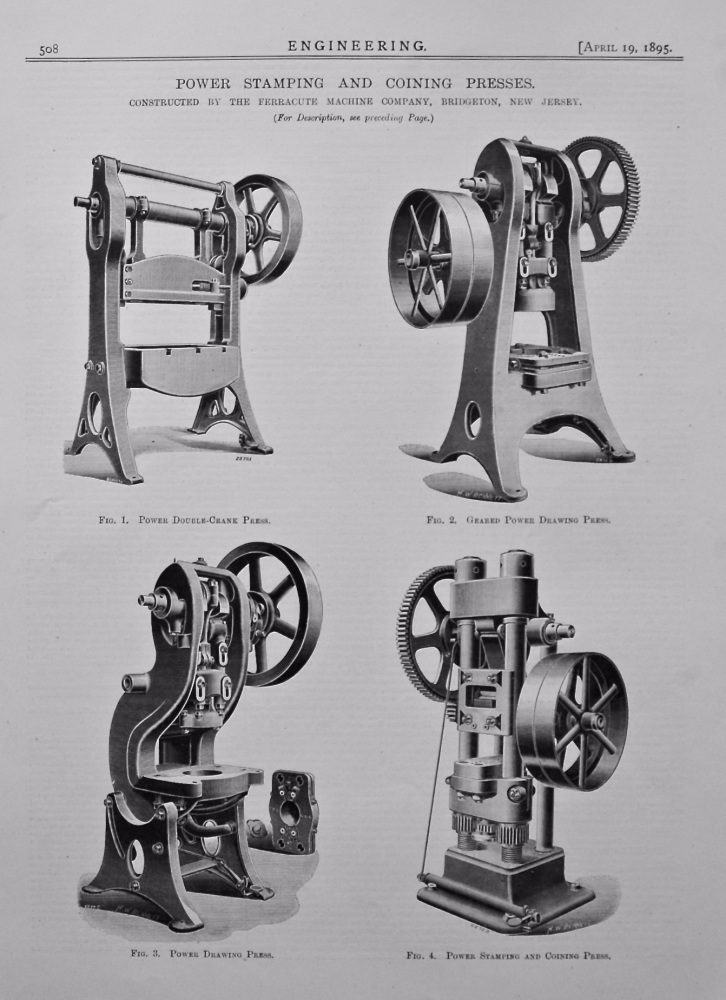 Power Stamping and Coining Presses. 1895.