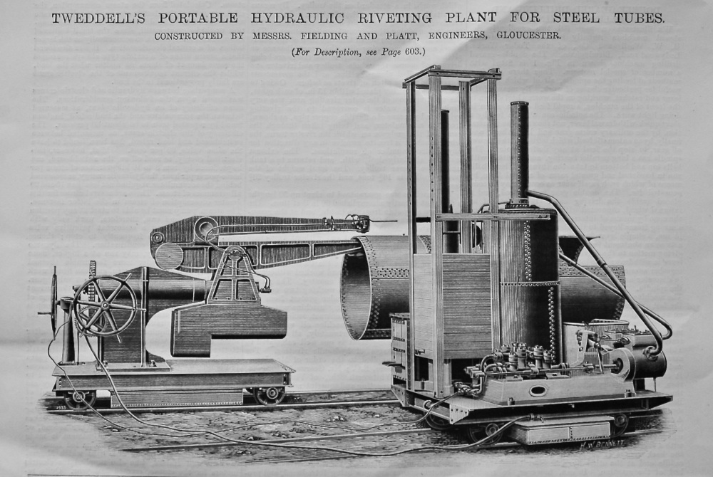 Double-Geared Drilling and Milling Machines.  Travelling Hydraulic Riveting Plant.  Electric Dock Cranes.  1895.