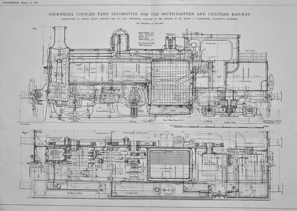 Four-Wheel Coupled Tank Locomotive for the South-Eastern and Chatham Railway.  Ship-Plate Planing Machine.  Thorneycroft-Marshall Water-Tube Boiler.