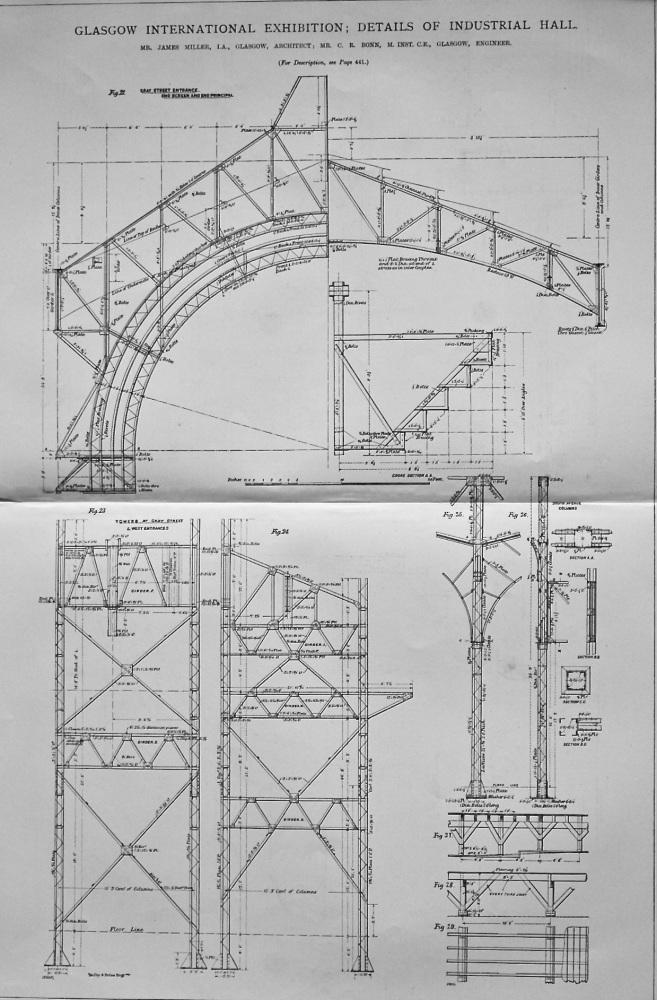 Glasgow International Exhibition ; Details of Industrial Hall.  1901.