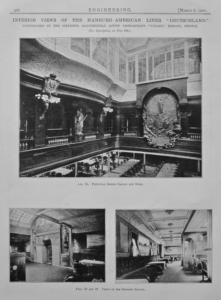 """Interior Views of the Hamburg-American Liner """"Deutschland."""" 1901."""