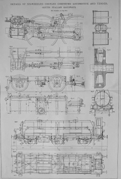 Details of Six-Wheeled Coupled Compound Locomotive and Tender ; South Italian Railways. 1901.