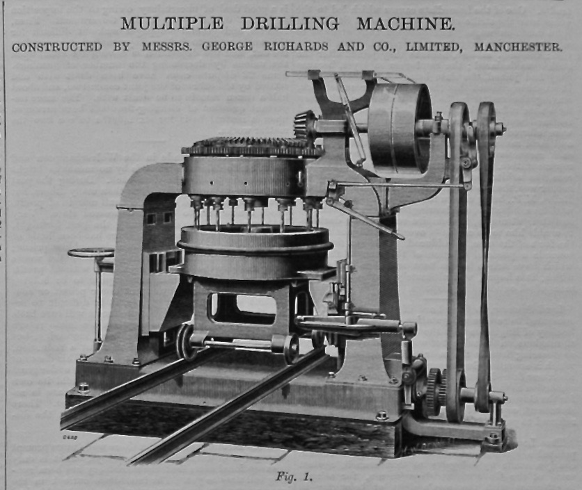Multiple Drilling Machine for Railway Carriage Wheels.  1895.
