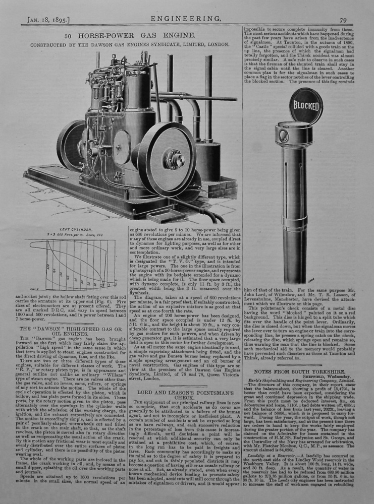 """The """"Dawson"""" High-Speed Gas or Oil Engines. 1895."""