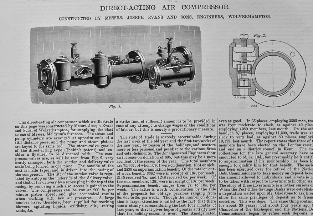 Direct-Acting Air Compressor.  1895.