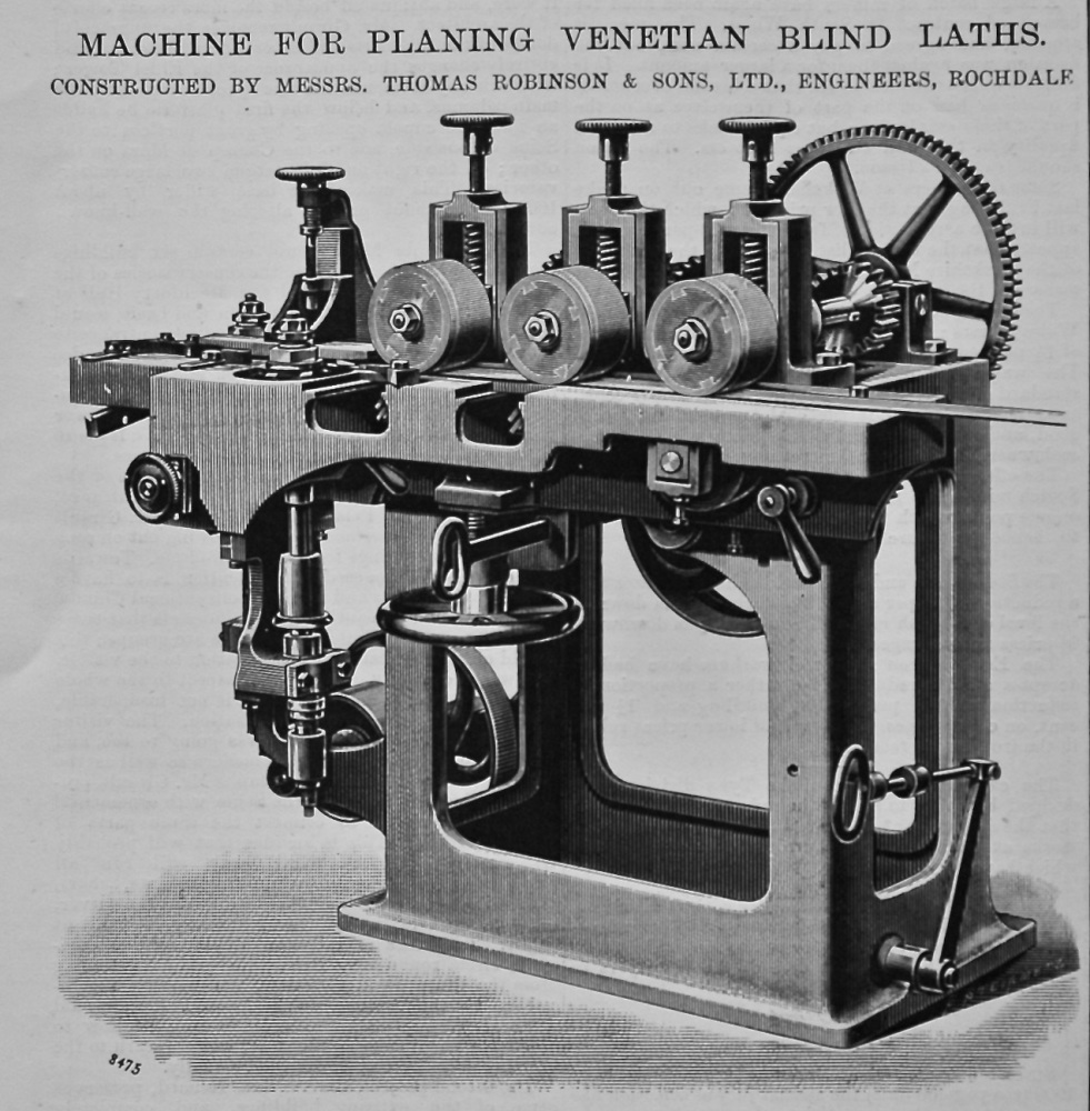 Machine for Planing Venetian Blind Laths. 1896.