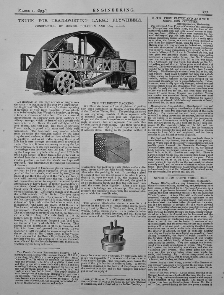 Truck for Transporting Large Flywheels. 1895.