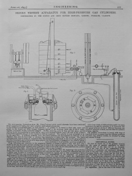 Brier's Testing Apparatus for High-Pressure Gas Cylinders. 1895.