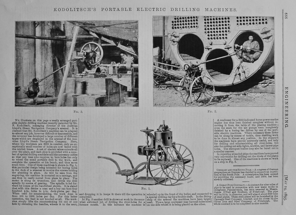 Kodolitsch's Portable Electric Drilling Machines.  1895.