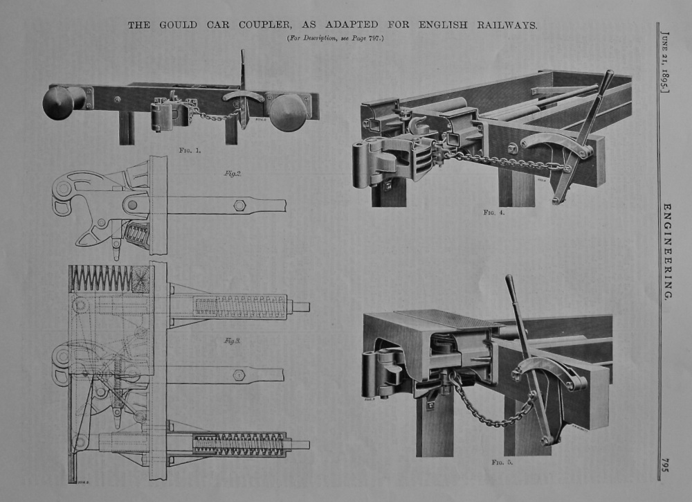 The Gould Car Coupler, as Adapted for English Railways.  1895.