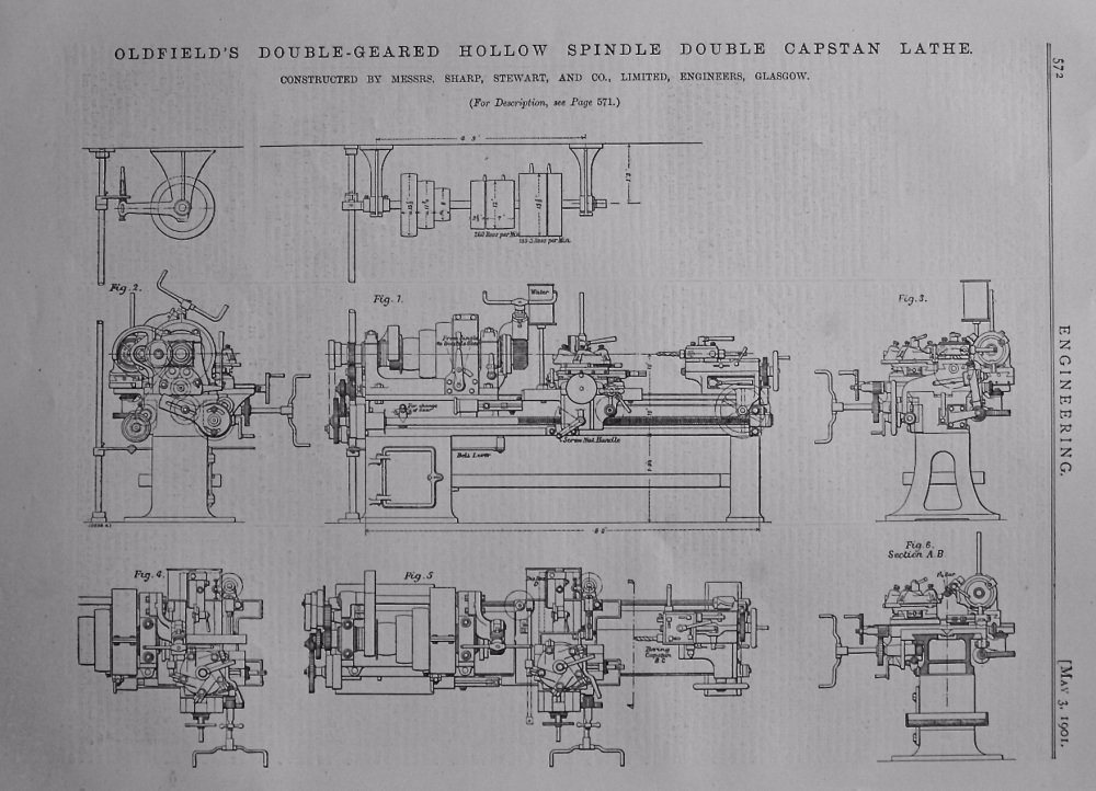 Oldfield's Double-Geared Hollow Spindle Double Capstan Lathe.  1901.