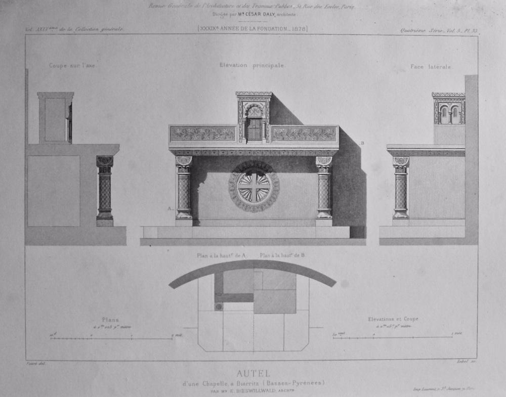 Autel d'une Chapelle, a Biarritz (Basses - Pyrenees) 1878.