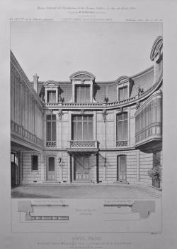 Hotel Prive, Boulevard Latout - Maubourg, a Paris. - Perspective de la cour d'Entree. 1878.