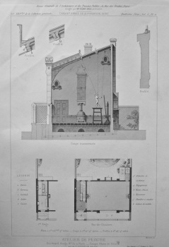 Atelier De Peintre, Boulevard Arago, No. 57, a Paris _ Coupe, Plans et Details. 1878.