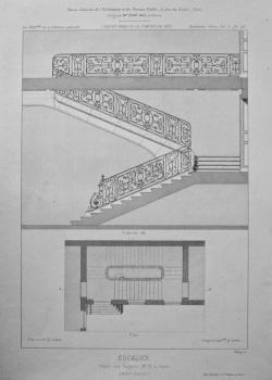 Escalier Hotel, rue Seguier, No. 18, a Paris. 1875.