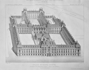 College Municipal Chaptal, Boulevard des Batignolles, a Paris. _ Vue a vol d'Oiseau. 1878.