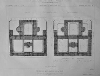 College Municipal Chaptal. Boulevard des Batignolles, a Paris.- Plans.  1878