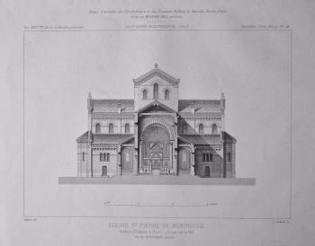 Eglise St. Pierre De Montrouge, Avenue d'Orleans, a Paris. _ Coupe sur la Nef.  1882