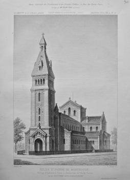 Eglise St. Pierre De Montrouge. Avenue d'Orleans, a Paris. _ Perspective de Cote de L'entree. 1882.