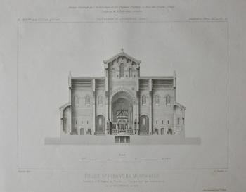 Eglise St. Pierre De Montrouge. Avenue d'Orleans, a Paris. _ Coupe sur les transepts. 1882.