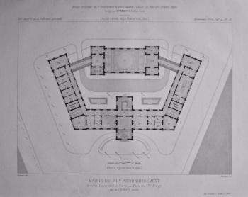 Mairie Du XIIe. Arrondissement, Avenue Daumesnil, a Paris. _ Plan du ler Etage. 1882.