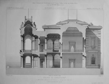Palais De Longchamp, a Marseille (Bouches-du-Rhone). _ Coupe sur une aile.  1882.