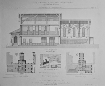 Asile et Ecole de Filles, a Courcelles (Seine-et-Oise)_ Coupe Longitudinale et Plans. 1875