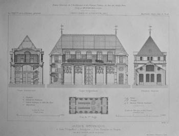 Jardin Botanique, a Caen (Calvados)_ Orangerie_ Plan, Elevation et Coupes. 1875