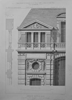 Jardin Botanique, a Caen (Calvados) _ Orangerie _ Details de la Facade.  1875.