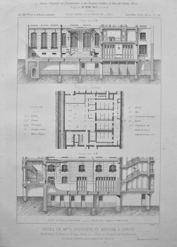 Hotel De Mr. G. Hachette Et Maison a Loyer. Boulevard St. Germain, No 197, a Paris. _ Plan et Coupes sur les Ecuries. 1882.