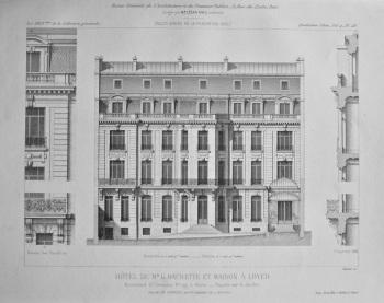 Hotel De Mr. G. Hachette Et Maison a Loyer. Boulevard St. Germain, No. 197, a Paris. _ Facade sue le Jardin. 1882.