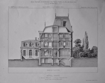 Hotel Prive. a Reims (Marne).- Coupe transversale. 1882.