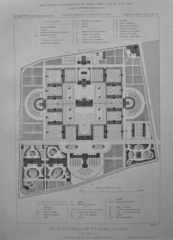 Asile D'Alienes De Sainte Anne, a Paris. Plan General. 1877.