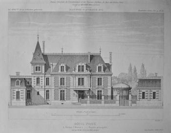 Hotel Prive, a Reims (Marne)._ Facade principale. 1882.