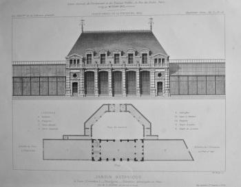 Jardin Botanique, a Caen (Calvados) _ Orangerie._ Elevation principale et Plan. 1875.