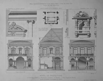 Hotel De Prefecture, a Grenoble (lsere). _ Vestibule et Escalier d'honneur,_ Plan, Coupes et Details. 1875.