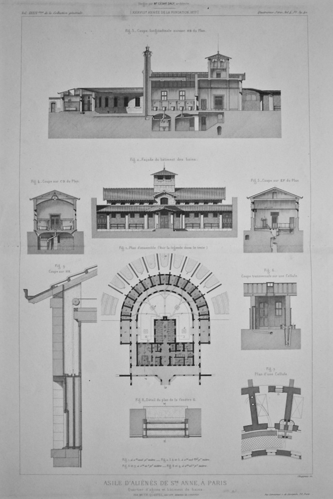 Asile D'Alienes De St. Anne, a Paris. Quartier d'agites et bâtiment de bains. 1877.