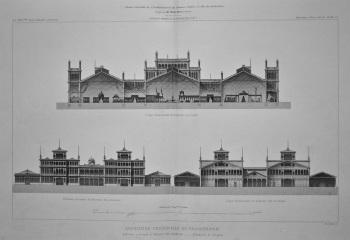 Exposition Universelle De Philadelphie. Batiment principal et bâtiment des machines._ _ Elevation et Coupes. 1877.