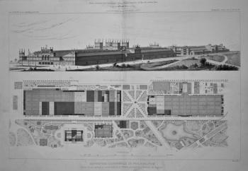 Exposition Universelle De Philadelphie. Portion de plan general et vue perspective de Bâtiment principal et du Bâtiment des Machines. 1877.