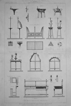 Ecole Des Beaux-Arts Et Bibliothèque De La Ville, a Marseille (Bouches du Rhone)._ Mobilier de L'Ecole des Beaux-Arts.  1877.