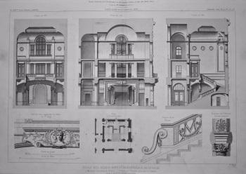 Ecole Des Beaux-Arts Et Bibliothèque De La Ville, a Marseille (Bouches du Rhone).__ Coupes sur L'Escalier principal et Details. 1877.