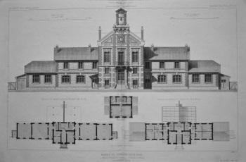 Mairie Et Groupe Scolaire, a Ablon (Seine-et-Oise)._ Elevation et Plans. 1882.
