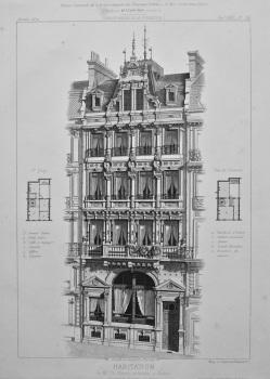 Habitation, de Mr. Ch. Fleaury, architecte, a Rouen construite d'après ses plans. 1872