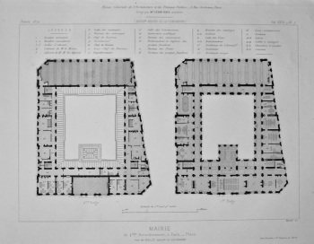 Mairie, du 4 éme Arrondissement, a Paris _ Plans. 1872.