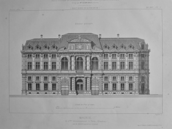 Mairie, du 4 eme Arrondissement, a Paris _ Elevation. 1872.