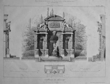 Fontaine De Medicis, dans le Jardin du Luxembourg, a Paris. 1867.