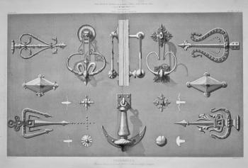 Ferronnerie, Heurtoirs, Pentures et Clous de Portes, a Tolede et a Segovie, (Espagne). 1867.