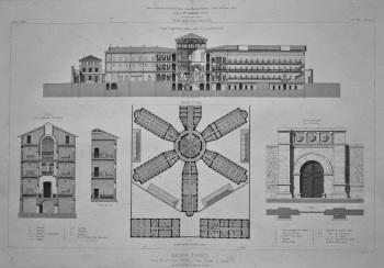 Maison D'Arret, Cours Suchet, a Lyon, (Rhone).__ Plan, Coupes et Details. 1867.