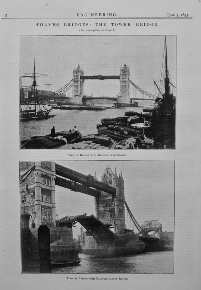 Thames Bridges : The Tower Bridge. 1895.