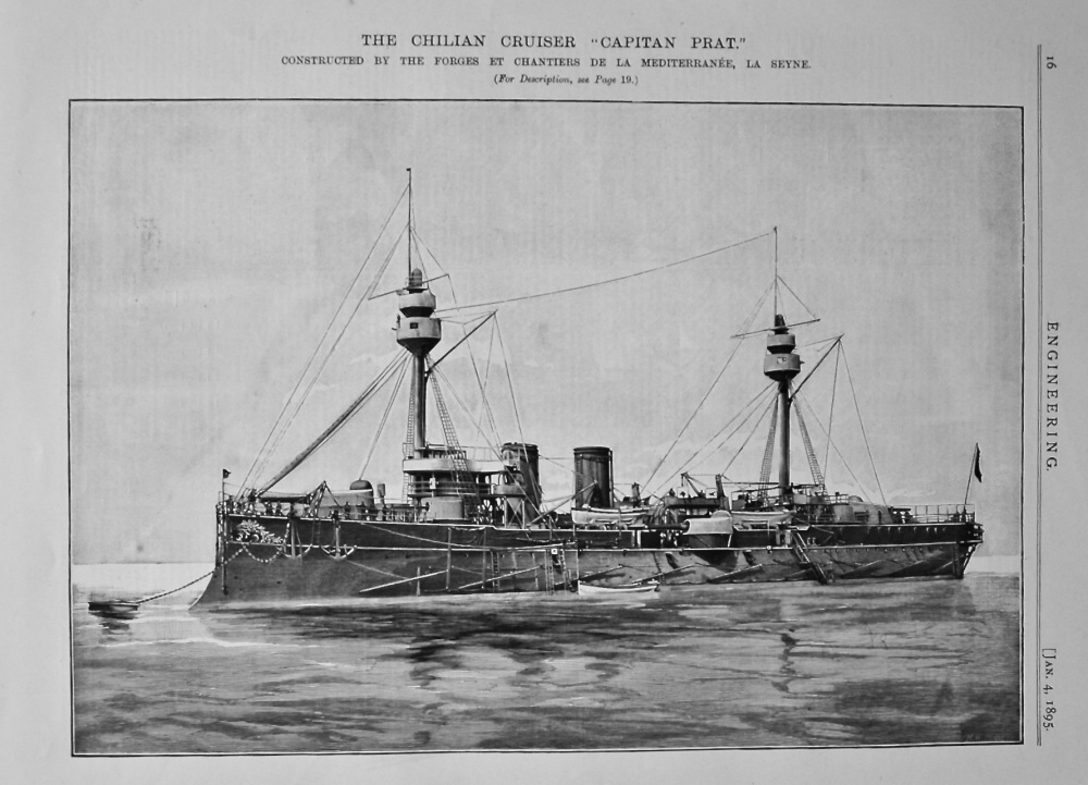 """The Chilean Cruiser """"Captain Prat."""" Constructed by the Forges et Chantiers de la Mediterraneanee, Le Seyne. 1895."""
